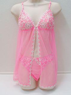 VICTORIA'S SECRET Eyelet Baby Doll Panties Set NEW NWT  #VictoriasSecret #BabydollChemise