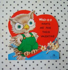 Vintage owl Valentine Card