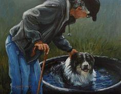 """""""Good Dog"""" - Original Fine Art for Sale - © Sue Deutscher"""