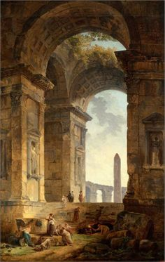 Ruins with an obelisk in the distance, 1775 Hubert Robert