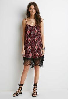 Tribal Print Fringe Cami Dress | Forever 21 - 2000052148