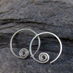 argentium earring spiral STERLING SILVER hoop earrings. sleeper. cartilage. piercing. child. rose / yellow gold / silver / copper No.00E190 on Etsy, £9.84