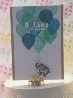 zur Geburt / Babykarte  die Ballons sind inspiriert von Nichol Magouirk  #lawnfawn #stampinup #scrapbookwerkstatt #deltamarker #embossing