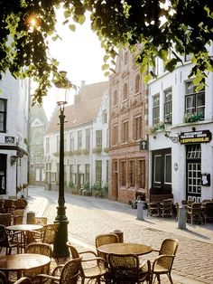Early morning coffee at a sidewalk cafe in France.
