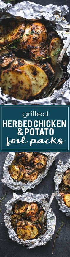 Grilled herbed chicken & potato foil packs are a fun and simple summer dinner that the whole family will love. They can even be made on a… (Grilling Recipes Chicken) The Best Burger, Foil Pack Meals, Camping Foil Dinners, Campfire Meals Foil, Grill Meals, Tin Foil Dinners, Easy Dinners, Chicken Potatoes, Potatoes On The Grill