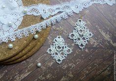 Купить Ажурные кружевные серьги - белый, серьги, фриволите, ажурные, кружевные, свадьба, ручная работа