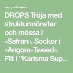 "DROPS Tröja med strukturmönster och mössa i «Safran». Sockor i «Angora-Tweed». Filt i ""Karisma Superwash"". Drops Design, Tweed, Math, Pattern, Math Resources, Patterns, Model, Mathematics, Swatch"