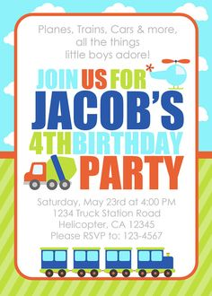 Transportation Party Invitation Printable by BelvaJune on Etsy, $9.00