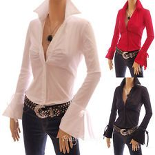 Bell Shaped Long Sleeve Fitted Ruched Button Down Collar Shirt Blouse Top