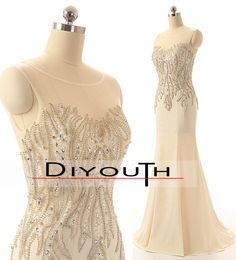 DIYouth.com Actual Images Luxury Scoop Crystal Prom Dresses Mermaid Satin Long Evening Gowns Formal Pageant Gowns,Mermaid Prom dress,beading evening dresses