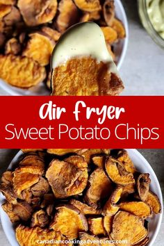 These Air Fryer Sweet Potato Chips are sweet with a hint of spice. I like to serve them alongside a homemade Avocado Ranch Dip!