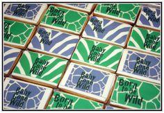 Born to be Wild Cookies    www.acakedream.com  #babyshower #jungle #cookies Baby Shower Verde, Gender Announcements, Stork, Baby Party, Babyshower, Cookies, Green, Ideas, Birth