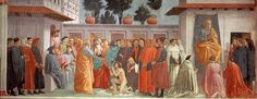 MASACCIO Raising of the Son of Theophilus and St Peter Enthroned Fresco, 230 x 598 cm Cappella Brancacci, Santa Maria del Carmine, Florence Other works by the artist. Renaissance Kunst, Renaissance Paintings, Italian Renaissance, Fra Angelico, Andrea Mantegna, Web Gallery Of Art, Religious Paintings, Italian Painters, Architecture Sketches
