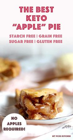 """This Amazing keto apple pie is filled with the best """"apple"""" pie filling but without all that sugar and gluten! #applepie #chayote #appledesserts #mypcoskitchen Desserts Keto, Keto Friendly Desserts, Sugar Free Desserts, Keto Snacks, Dessert Recipes, Holiday Desserts, Dessert Ideas, Cookie Recipes, Ketogenic Recipes"""