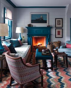 For Steven Gambrel, the key is to think beyond paint when choosing colors for walls. Details in the room all inform his palette and design decisions. Living Room Designs, Living Spaces, Living Rooms, Living Area, Family Rooms, Apartment Living, Cosy Home, Farmhouse Side Table, Cute Dorm Rooms