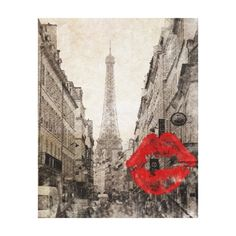 Vintage Romantic Paris Eiffel Tower Canvas Print.   http://www.zazzle.ca/acharmingprintz*