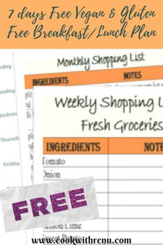 7 days Free Vegan & Gluten Free Breakfast/Lunch Plan Available free to download. Gluten Free Recipes For Breakfast, Gluten Free Breakfasts, Vegetarian Recipes, Vegetarian Breakfast, Meal Planning, Lunch Box, How To Plan, Shopping, Ideas