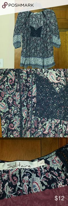Peasant blouse Exc condition purple and navy blue paisley pattetn pullover blouse. Wore about 3x. Its a large but a bit snug fitting. I am a 14 for reference. It would fit someone a size 12 much better. solitaire Tops Blouses