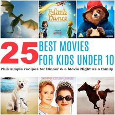 The 25 Best Movies for Kids Under 10 plus crowd-pleasing ideas for dinner & a movie Night Movie Night For Kids, Dinner And A Movie, Family Movie Night, Family Movies, Netflix Movies, Comedy Movies, Indie Movies, Best Kid Movies, Good Movies For Kids