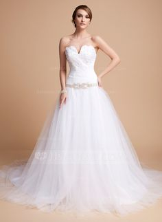 Wedding Dresses - $196.99 - Ball-Gown Sweetheart Chapel Train Tulle Wedding Dress With Ruffle Lace Beadwork (002012678) http://jjshouse.com/Ball-Gown-Sweetheart-Chapel-Train-Tulle-Wedding-Dress-With-Ruffle-Lace-Beadwork-002012678-g12678