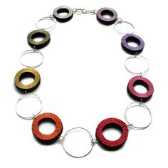 Francesca Vitali. Necklace: ARIA. Repurposed paper, sterling silver (reversible). Woven, fabricated.