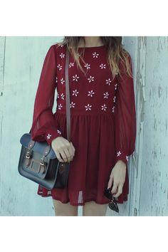 black bag - dark brown oxfords shoes - maroon dress