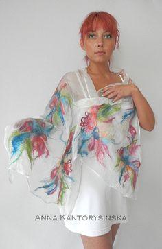 nuno felted silk scarf shawl  MY FLOWERS handmade art to wear, silk wool scarf, nuno felt shawl, eco fashion by Kantorysinska