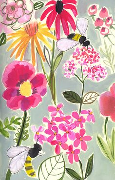 Bees & Flowers  Archival Print by augustwren on Etsy