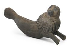 RARE CARVED AND PAINTED PINE LARGE CAROUSEL SEA LION, ATTRIBUTED TO GUSTAV BAYOL, PROBABLY FRENCH, CIRCA 1895