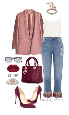 """Untitled #202"" by smackthatash on Polyvore featuring The Row, River Island, Christian Louboutin, Huda Beauty, Fallon, Rolex and Bulgari"
