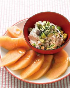 Cantaloupe with Ricotta and Pistachios - this refresher is also perfect for a midday snack