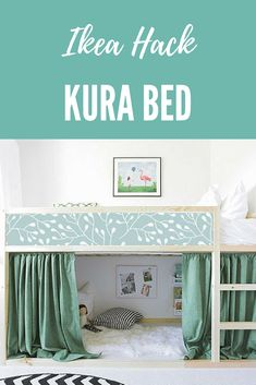 With IKEA KURA BED removable stickers branch you can personalize and add your own style.  You can remove this decal and use it again.  #ikeahacks #ikeahackkurabed #affiliate