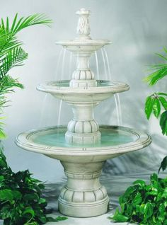 Contemporary Three Tiered Cement Fountain Spouting Water