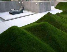 Pelouse géometrique sur l'espace extérieur design