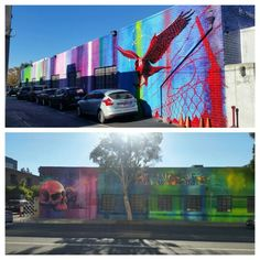 Multiple StreetArtists: OGAbel, Vyal, Risk Rock & Sel leave pieces around this big building housing Park Pictures & Rock Paper Scissors on Broadway & Cloverfield Blvd in Santa Monica, California.