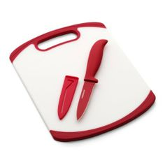 Farberware 8-Inch x 10-Inch Poly Board with 3.5in Resin Parer and Sheath; Red by Lifetime Brands. $14.99. Non-slip grip on board provides stability during cutting. Sheath provides safe storage. Non-stick coating on knife prevents food from sticking to the blade. Reversible cutting surface. Board is non-porous and non-absorbent. This Farberware cutting board and knife set will have you slicing and dicing like a pro! The polyurethane board is non-porous and non-absorbent and is re...