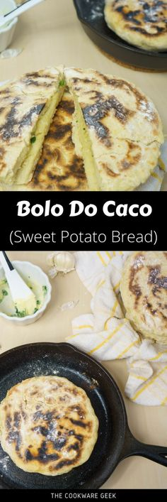 Bolo do Caco (Sweet Potato Bread) - The Cookware Geek Sweet Potato Bread, Mashed Sweet Potatoes, Pastry Recipes, Bread Recipes, Traditional Bread Recipe, Portuguese Recipes, Portuguese Food, Cast Iron Recipes, Western Food