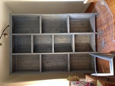 Ana White inspired bookshelves customized for our casa. Used Rustoleum weathered gray stain