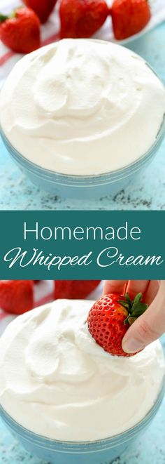 Learn how to make homemade whipped cream with just three ingredients. You'll want to ditch the store-bought stuff once you learn how easy it is to make your own!