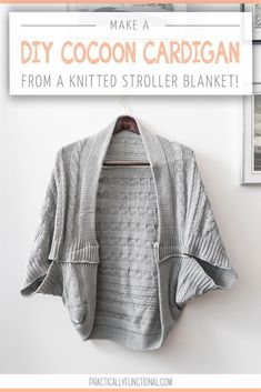 Cozy up this winter in a blanket turned DIY cocoon cardigan! This DIY is easy and takes just minutes - make it with your favorite blanket! Fashion Tips For Women, Diy Fashion, Fashion Outfits, Fashion Trends, Fashion Ideas, Latest Fashion, Cocoon Cardigan, Stroller Blanket, Diy Clothing