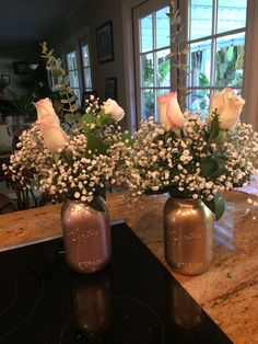 Metallic, rose gold, bridal shower, engagement party, glitter, sparkle, monogram, candy, bar, cupcakes, confetti, flowers, roses, baby's breath, mason jar, arrangement, DIY
