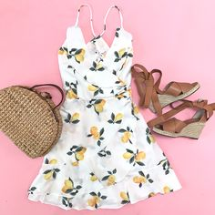 Lemon print cami dress, leddy wedge sandals, picnic basket straw bag, summer outfit, wedding outfit idea, petite fashion blog - stylish petite - click the photo for outfit details!