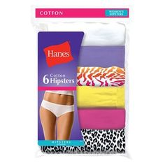 Hanes Women s No Ride Up Cotton Hipster Panties 6-Pack 6 Packs 98f627dde
