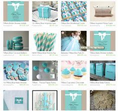 Etsy Treasury - Great Tiffany Blue themed party items that are great for a birthday party, baby shower, or bridal shower. Features everything from invitations to party favors.