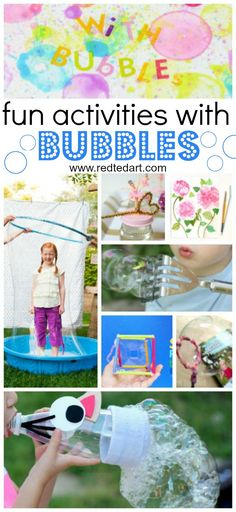 Bubble Activities for Kids - Fun with Bubbles! If you love bubble and bubble play. This is your one stop shop to all things bubbles. From the easiest and simplest Bubble Recipe, to Bubble Science (Must Try Activities) Bubble Activities, Summer Activities For Kids, Summer Kids, Toddler Activities, Crafts For Kids, Bubble Games For Kids, Outdoor Activities For Preschoolers, Art Activities, Bubble Crafts