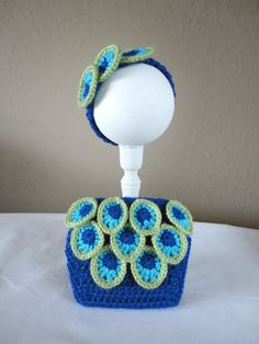 Newborn Peacock Headband and Diaper Cover Set by HookedwithaTwist, $32.00