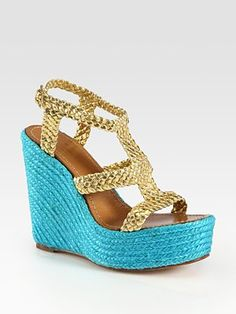 Kate Spade Lila metallic leather colorblock espadrilles