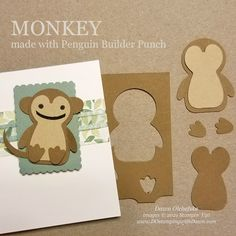 Animal Punch Art monkey using Penguin Builder Punch card from Dawn Olchefske #dostamping #HowdSheDOthat #stampinup #punchart P Wood Patterns, Punch Art, Paper Pumpkin, Coordinating Colors, Red Apple, Card Templates, Note Cards, Penguins, Stampin Up