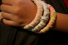 tee shirt bracelets -- recycled craft