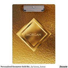 Personalised Geometric Gold Shiny Clipboard